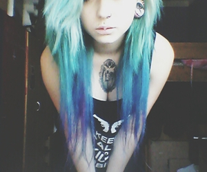 emo, hair, and blue hair image