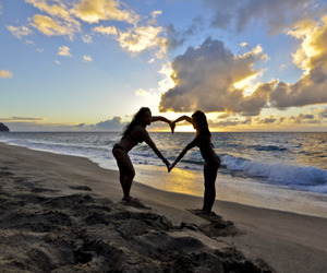 beach, heart, and girl image