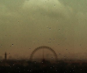rain, vintage, and ferris wheel image