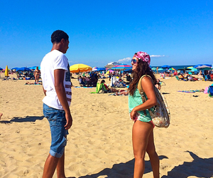 guy and girl, party time, and beach stuff image