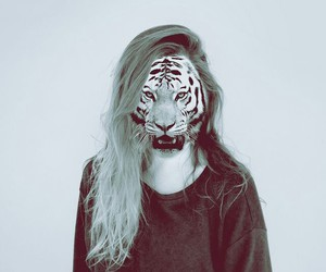 girl, tiger, and hipster image