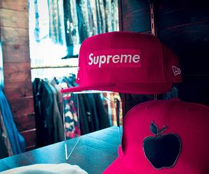 supreme, cap, and apple image