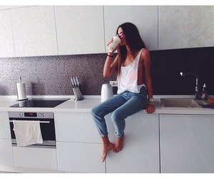 girl, kitchen, and style image