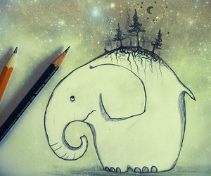 drawing, elephant, and gray image