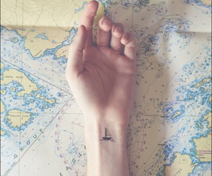 boat, map, and sea image