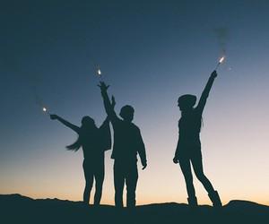 friends, night, and light image