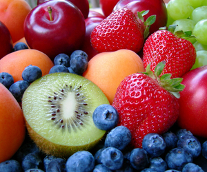 apricot, blueberries, and cherries image