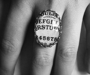 ring, ouija, and black and white image
