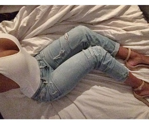 heels, white tank, and ripped jeans image