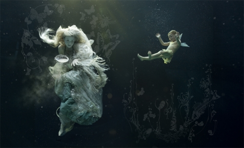 water, underwater, and angel image