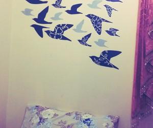 bedroom, birds, and black image