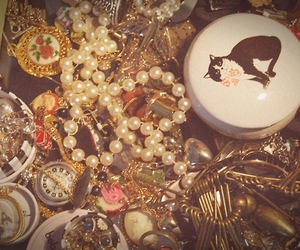 cat, pearls, and jewelleries image