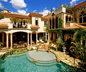 house, pool, and mansion image