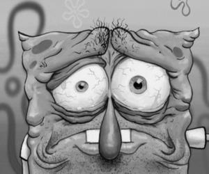 black, spongebob, and black and white image