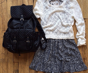 outfit, dress, and backpack image