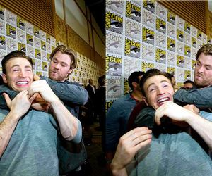 chris evans, comic con, and funny image