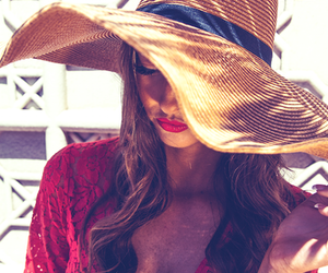 hat, summer, and red image