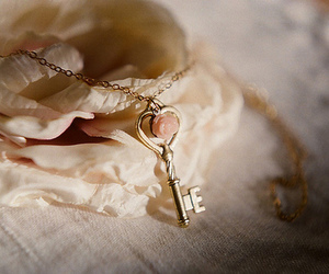 key, vintage, and rose image