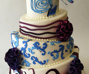 blue, butterfly, and cake image