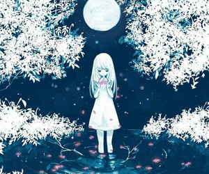 anime, blue, and moon image