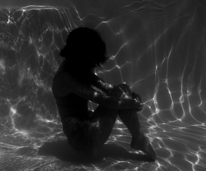 alone, bw, and pool image
