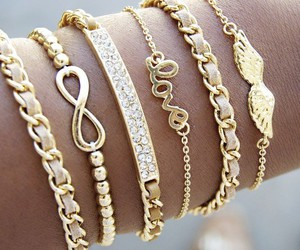 love, bracelet, and gold image