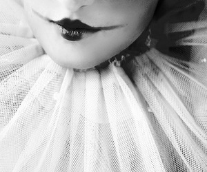 pierrot, lips, and black and white image