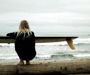 beach, blond, and surf image