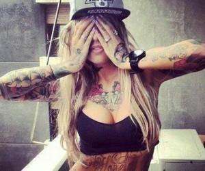 girl, tatoeages, and inked image