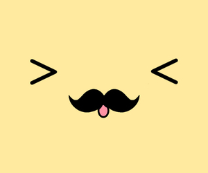 yellow, mustache, and cute image