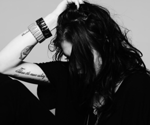 frances bean cobain, black and white, and tattoo image