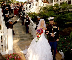 bride, military, and dress blue image