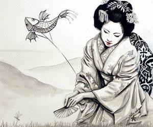 geisha, drawing, and japan image