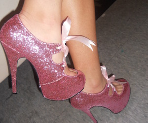 glitter, heels, and pink bow image