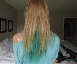 hair, blonde, and blue hair image