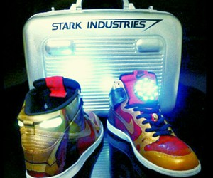 funny, shoes, and iron man image