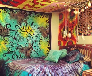 hippie, room, and bedroom image