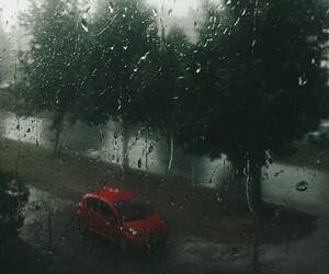 car, rain, and red image