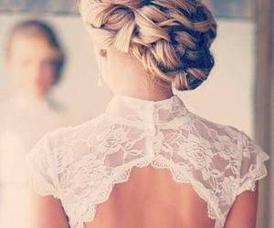 hair, bride, and dress image