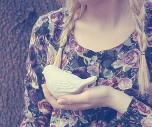 bird, girl, and floral image