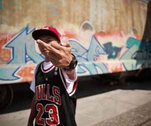boy, graffiti, and middle finger image