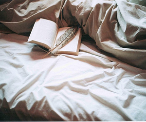 book, bed, and feather image