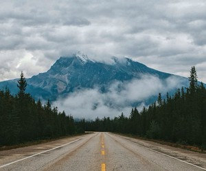 mountains, road, and canada image