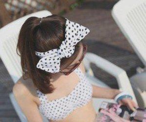 girl, bow, and bikini image
