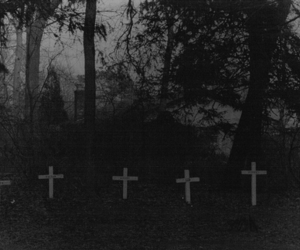 cross, cemetery, and black and white image