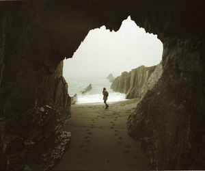 beach, photography, and cave image