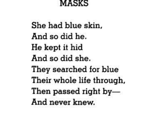 mask, quotes, and poem image