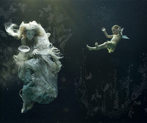 beauty, underwater, and art image