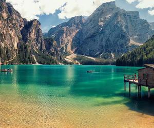 mountains, lake, and beach image