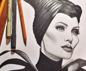 Angelina Jolie, art, and black and white image